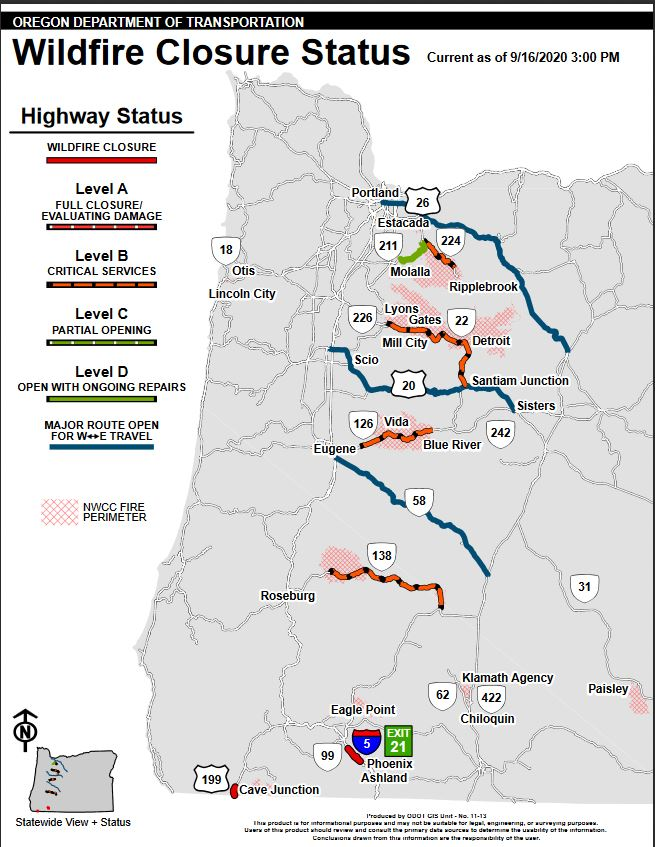 ODOT wildfire road closure map