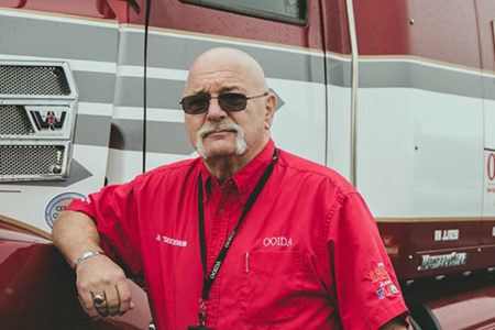Jon Osburn, skipper of OOIDA's tour trailer, the Spirit of the American Trucker OOIDA on the road