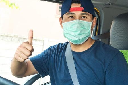 Trucker wearing mask