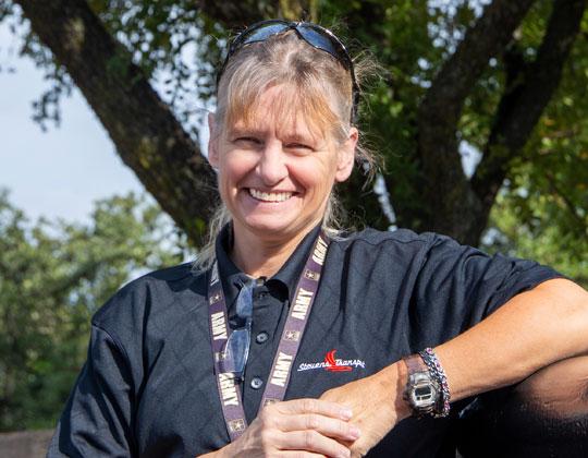 Gail Losee, a U.S. Army veteran driving for Dallas-based Stevens Transport.