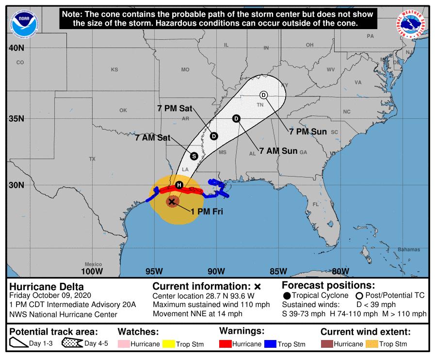 Hurricane Delta trajectory