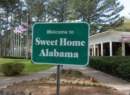 Welcome to sweet Home Alabama sign at rest area