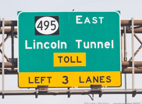 Lincoln Tunnel toll sign