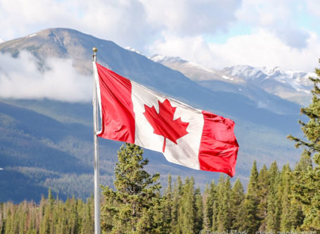 Canada flag, Rocky Mountains