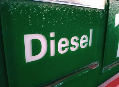 diesel sign at pump
