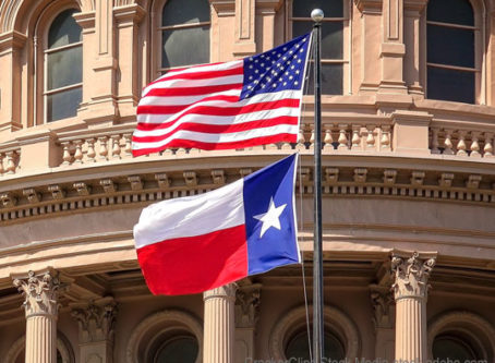 U.S. and Texas flags at state capital