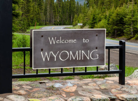 Welcome to Wyoming sign Shoshone National Forest
