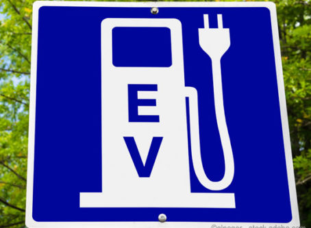 Electric vehicle charging sign, electric-powered trucks