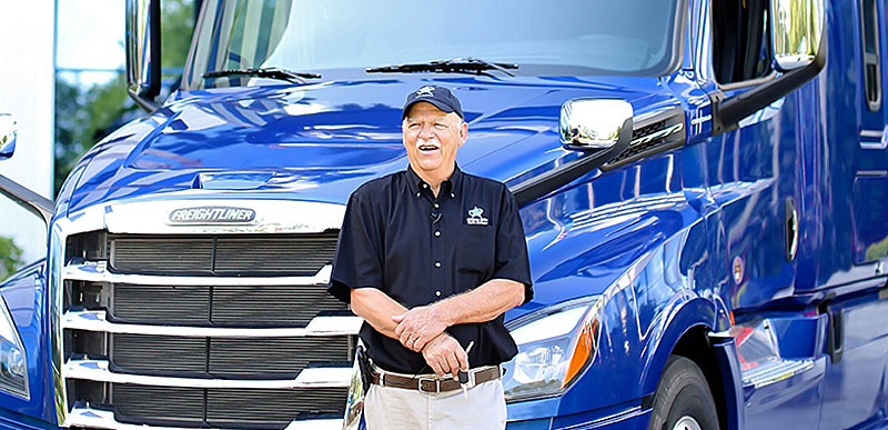 OOIDA member Robert Jordan won this Freightliner Cascadia 126 in Landstar's 2020 All-Star Truck Giveaway.