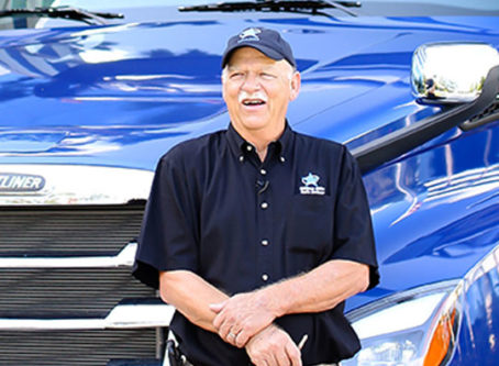 OOIDA member Robert Jordan won this Freightliner Cascadia 126 in Landstar's 2020 All-Star Truck Giveaway.