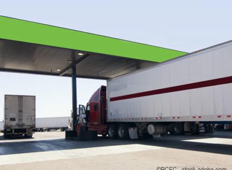 Diesel pumps at truck stop