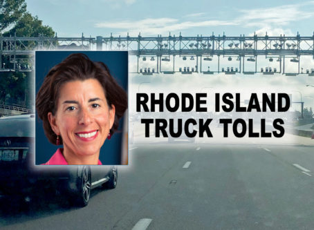 Gov. Raimundo, Rhode Island truck toll gantry photo by Rhode Island Trucking Association