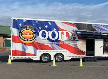 OOIDA's tour trailer in Corning, Calif.
