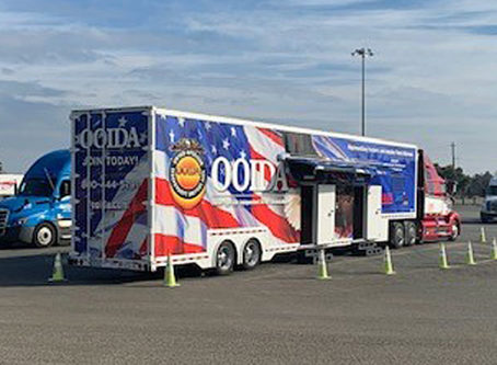 OOIDA's tour trailer in Corning, Calif.