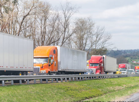 Traffic congestion, tractor-trailers backed up