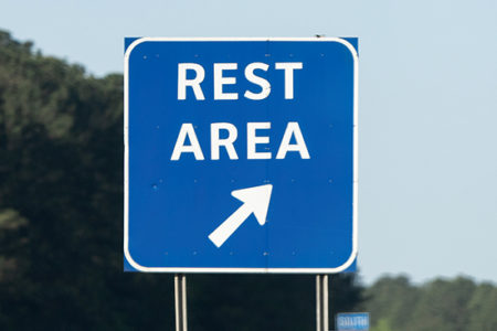 Rest area sign, yard moves