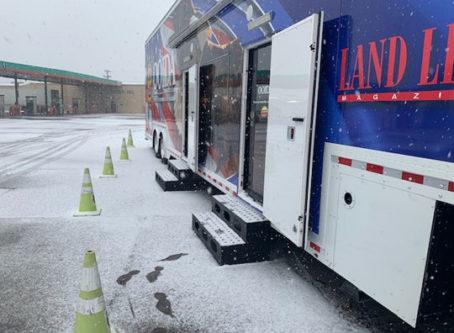 OOIDA's tour trailer in San Antonio with snow