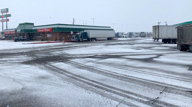 Snow at the San Antonio Petro on the morning of Feb. 18, 2021
