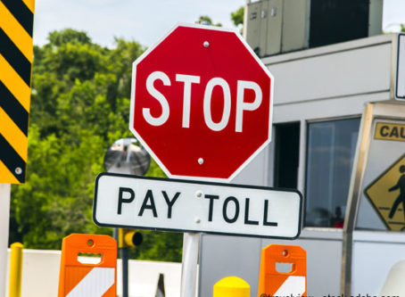 Toll collection booth at Texas bridge