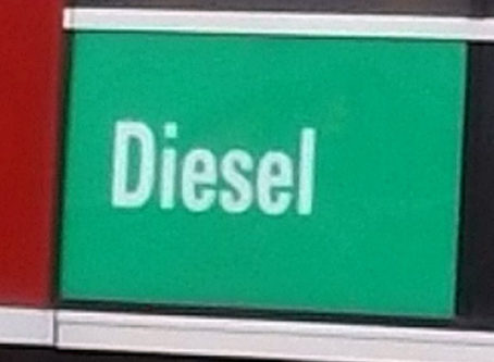 Diesel fuel label at truck stop