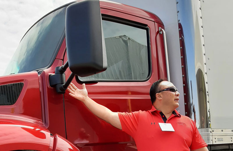 Phil Hall, midrange segment manager and former design chief, explains the strong cowl mount that provides a steady base for the rear-view mirror