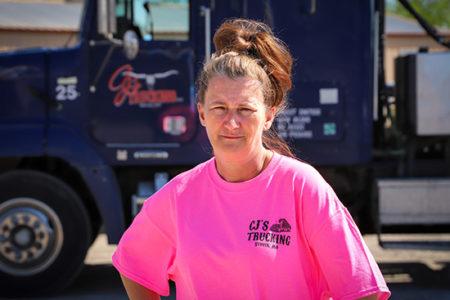 OOIDA member Christy Goucher, CJ Trucking Dump Truck