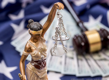 Lady Justice, U.S. flag, gavel, money