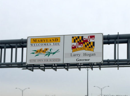 """Welcome To Maryland"" sign on the Woodrow Wilson Bridge (the northbound outer loop of the Capital Beltway"