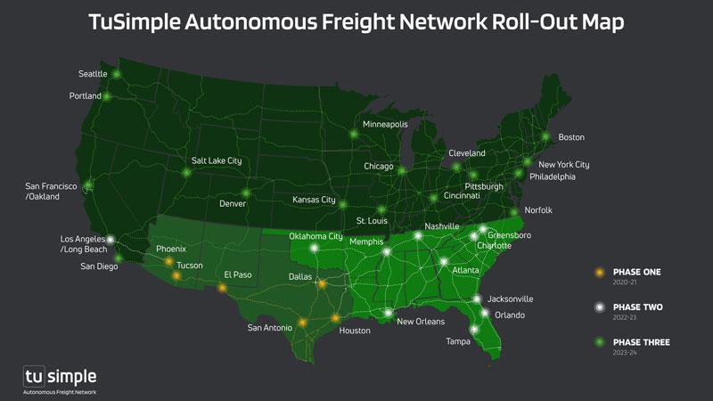 TuSimple Autonomous Freight Network rollout map