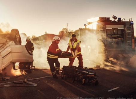 Collision scene, traffic fatality statistics