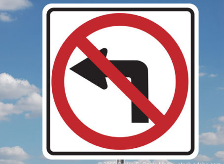 No left turns sign
