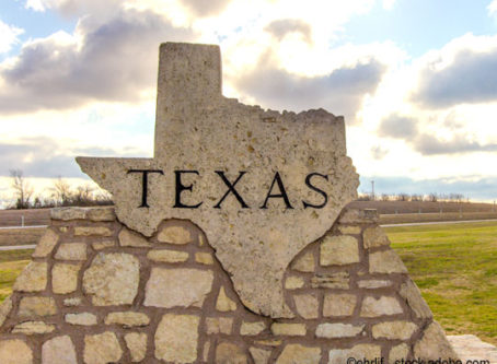 Texas sign at the Texas Welcome Center outside of Amarillo.