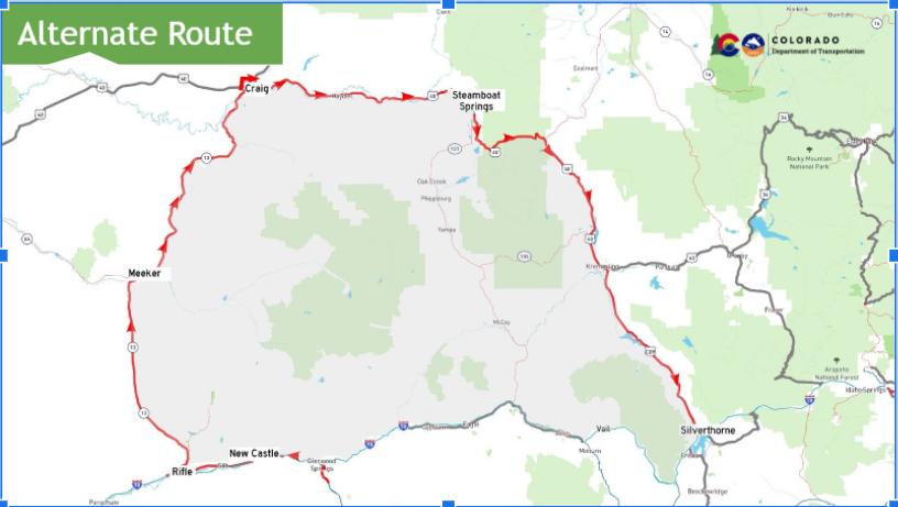 I-70 closure detour map
