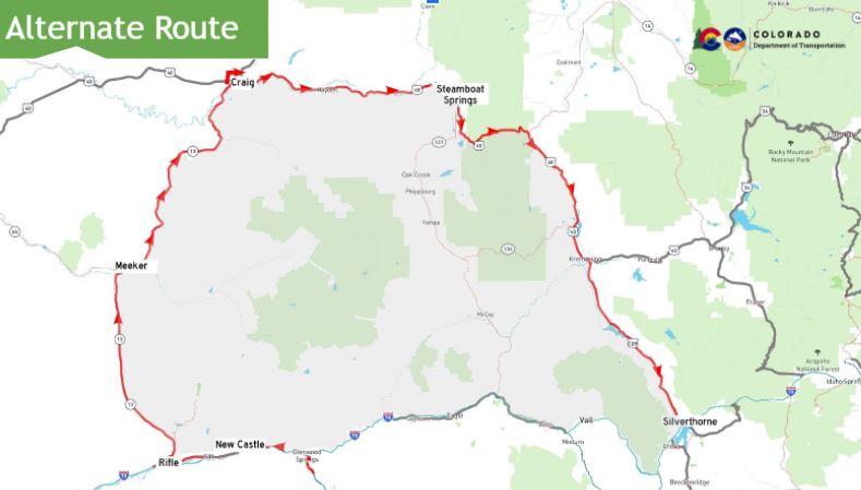 Glenwood Canyon detour map