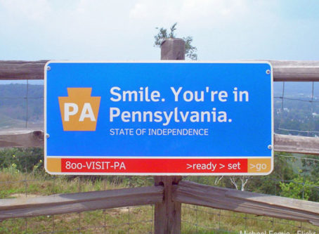 Smile, you're in Pennsylvania sign, photo by Michael Femia