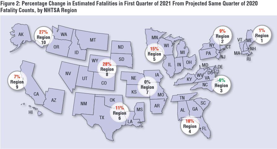 Traffic fatalities by region (map)