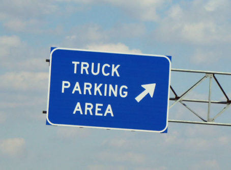 Truck parking area sign on I-70