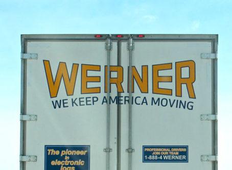Back of Werner trailer on I-70