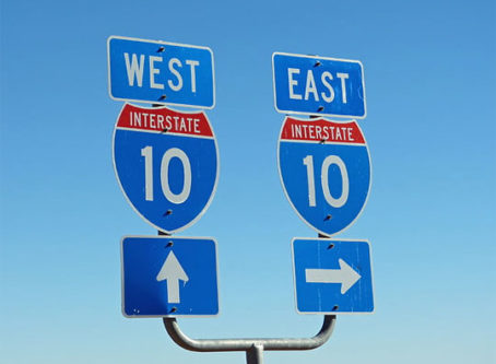Interstate 10 signs in Louisiana