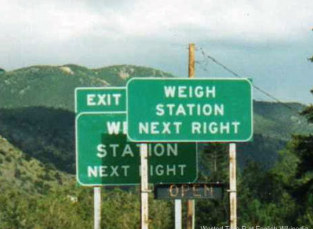 Truck weigh station sign