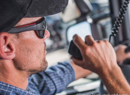 Truck driver using a CB radio