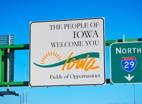 Welcome to Iowa sign, photo by Tony Webster