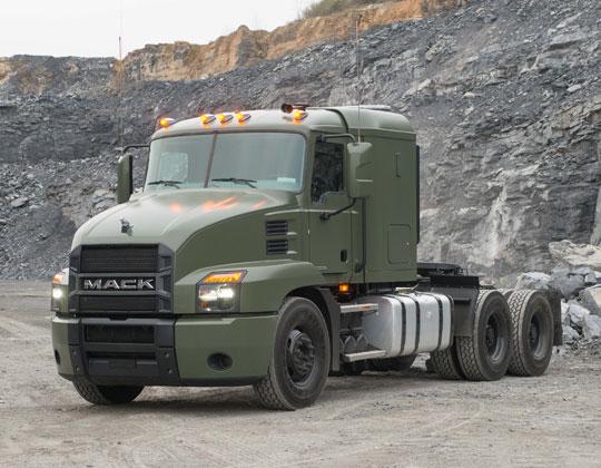 Mack Defense's 60-ton Mack Granite-based line-haul truck