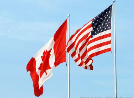 Canada, U.S. flags