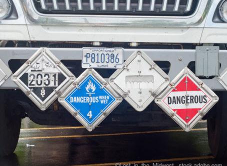 Hazmat placards on truck
