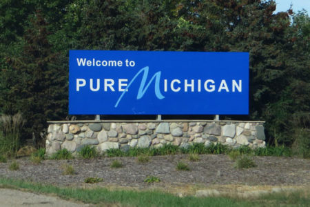 Welcome to Pure Michigan sign, photo by Ken Lund